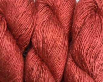 Hand Dyed Worsted weight Silk Yarn - Martian Red - OOAK