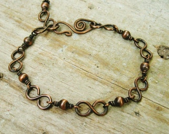 All Copper Bracelet - Wire Wrapped Copper Beads and hammered infinity links - everyday copper bracelet