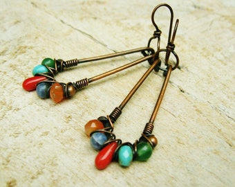 Long Copper Hoops with mixed stone and Czech glass beads criss cross wire wrapped copper dangle earrings