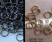 On Sale 25% Off Twisted 10mm Brass Jumprings in Gunmetal or Brass Ox Finish