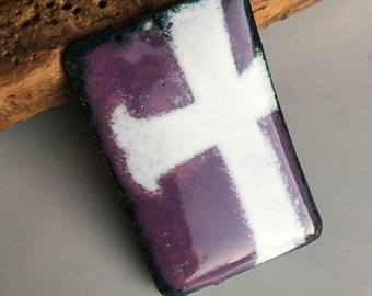 Enamel on Copper Cab, Stenciled White Cross, White and Purple, Destashed Jewelry Finding, Good Luck Charm