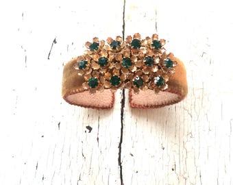 Bronze Silk Velvet Adjustable Cuff with Floral Panel