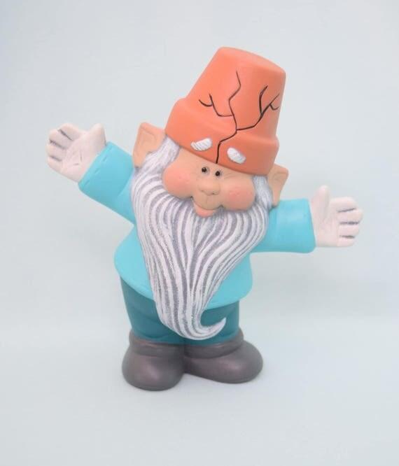 Garden Gnome Figurine - Garden Gnome - Yard Art - Fairy Garden Gnome - Crackpot Gnome - Gardener Gnome - Outdoor Decor - Gnome Statue