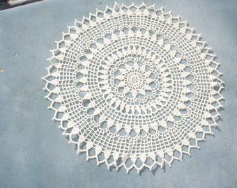 handmade 16.5 inch round ecru cotton thread crochet doily  --  2368