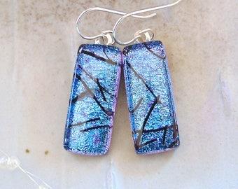 Purple Earrings, Blue, Black, Dichroic Glass Earrings, Fused Glass Jewelry, Dangle, A1