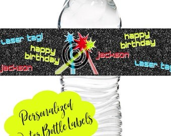 Laser Tag Birthday Party, Laser Tag water bottle labels, Party decorations, stickers, labels, boys laser tag