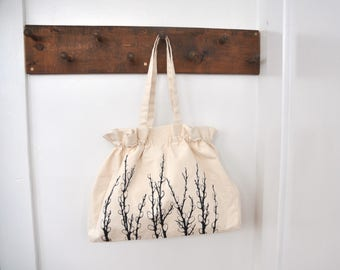Pussy Willows - Ruffles Everyday Bag - Natural Canvas Screen Printed Project Bag