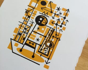JAZZ geometric cubist Illustration by JD King Hand Printed Letterpress Archival Print 8x10