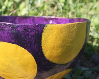 Purple and Yellow Papier Mache Bowl