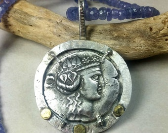 Ancient Greek Coin Pendant,  Silver ancient coin necklace , Heavy silver, gold and tanzanite strand. Ancient coin Jewelry