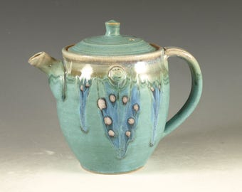 Pottery teapot in turquoise glaze 20 oz  loose leaf
