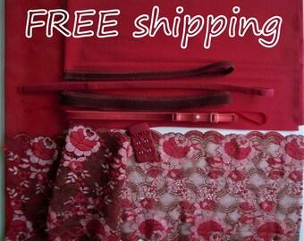 FREE Ship DIY BRA Kit Red & Brown Vintage Cotton by Merckwaerdigh