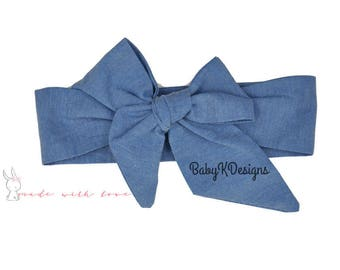 Newborn Head Wrap Denim Baby Headwrap.Headband Bow Infant Toddler Girl Cotton DIY Headband Big Bow Turban Dress Sash Big head band messy bow