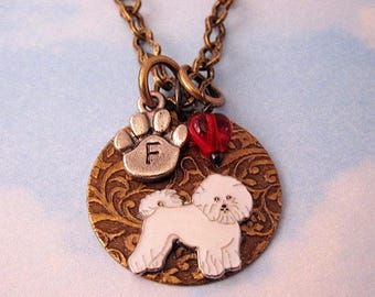 BICHON Frise NECKLACE Jewelry Bichon Gifts. FREE Engraving. Personalized Pendant with Initial & Birthstone. Memorial Remembrance Keepsake