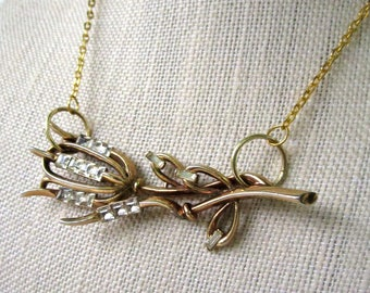 Frosted Branch Necklace - repurposed vintage rhinestone and gold flower pendant on gold necklace - Free Shipping to USA