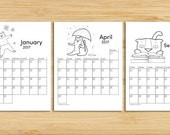 INSTANT DOWNLOAD: Printable Cat Calendar - 2017 - full-page for coloring