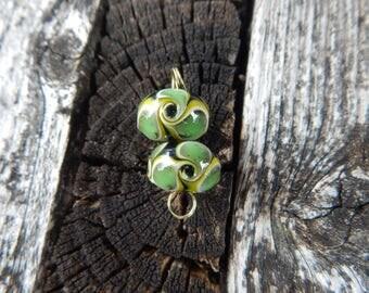 Poison Ivy, pair, Simply Lampwork by Nancy Gant, SRA G55