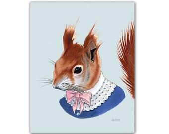 Red Squirrel art print 11x14
