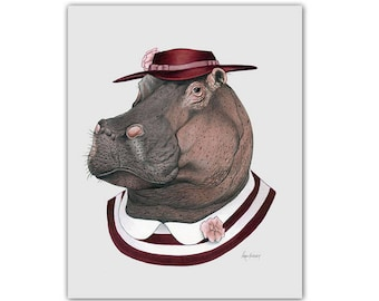 Hippo art print - Animal art - Nursery art - Nursery decor - Animals in Clothes - Children's art - Ryan Berkley Illustration 8x10