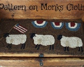 Hooked Rug Pattern on Monks Cloth Sheep on Parade