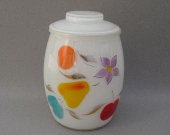 1950s White Gay Fad Cookie Jar with Lid Fruits & Floral Bartlett Collins Glassware Hand Painted Glass Cheerful Kitchen Storage Container