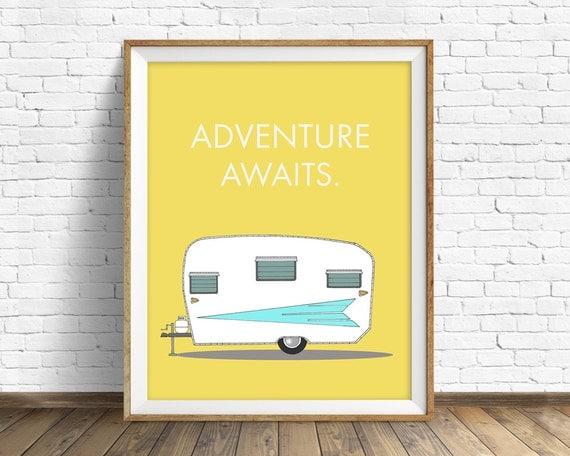 "retro camper art print, mid century modern wall art, large art, large wall art, wall art prints, quote prints, wall art - ""Adventure Awaits"""