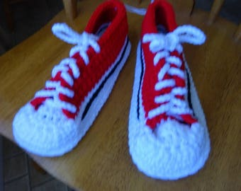Red & White Sneakers, Brown variegated sole 10.5 inches, Ladies 9/10, Mens 7/8