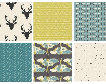6 FABRIC QUILTING BUNDLE - Hello Bear - Forest Floor - Bonnie Christine - Woodland Quilting Fabric - Deer Moths Mushrooms Arrows Forest