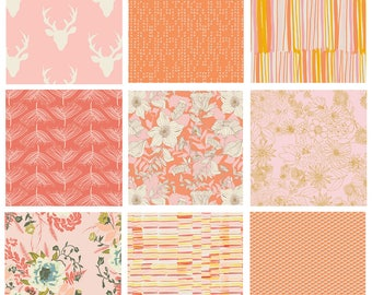 9 FABRIC BUNDLE - Hello, Bear - Art Gallery Fabrics - Bonnie Christine - Modern Quilting Cotton - Woodland Deer Floral - Pink Orange