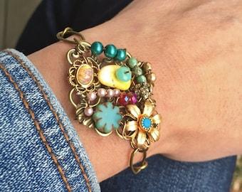 Colorful bohemian statement bracelet,collage bracelet,boho bracelet. Tiedupmemories
