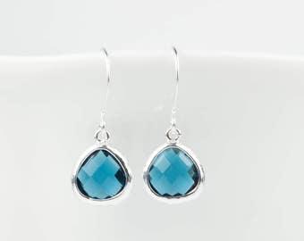 Tiny Navy Blue Silver Earrings, Navy Silver Earrings, Dark Blue Silver Earrings, Bridesmaid Earrings,  Bridesmaid Jewelry, Navy Wedding