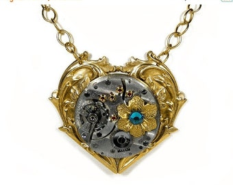 Steampunk Jewelry Gold Heart Floral Necklace RARE Pocket Watch, Turquoise Crystals, Anniversary Holiday Gift For Her - Jewelry by edmdesigns