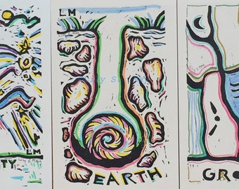 4 Mirrors of the Heart Favourable Cards Hand Coloured
