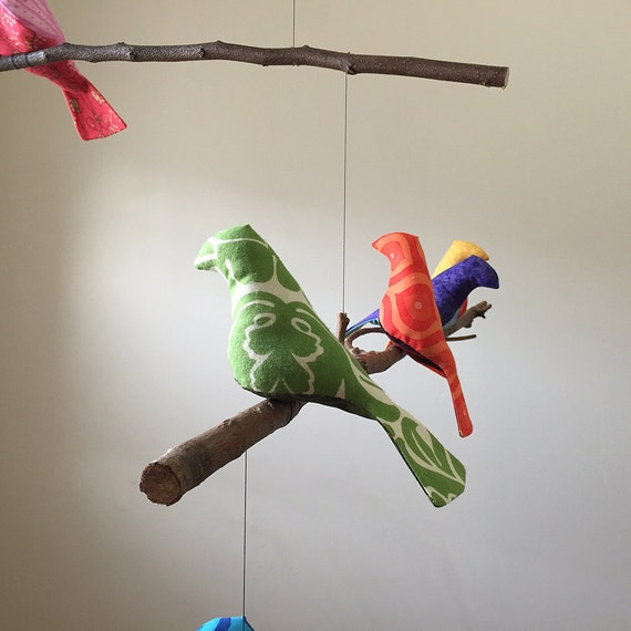 Bird Mobile  Custom 9 colorful Birds on natural tree branches personalized just for you