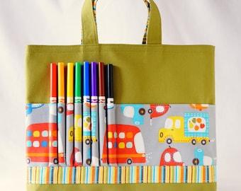 Crayon Tote • Crayon Bag • Coloring Bag • Art Tote • Crayon Holder • Crayon Roll • Ring Bearer • Busy Bag • ARTOTE • All Around the Town