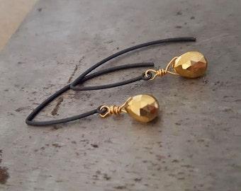 Black Gold Earrings, Gold Pyrite Black Wire Hoop Earrings, Rustic Jewelry, Oxidized Sterling Silver Minimalist Gunmetal Dangle Gold Teardrop