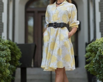 ON SALE Vintage Lemon Yellow And White Floral Full Circle Dress (Size Small/Medium)