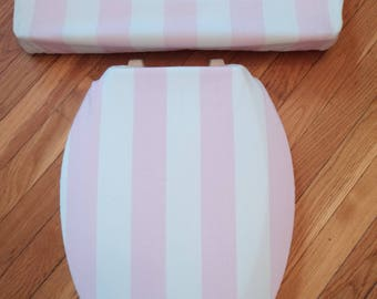 Laura Ashley Pink Stripe Toilet Seat & Tank Lid Cover Set