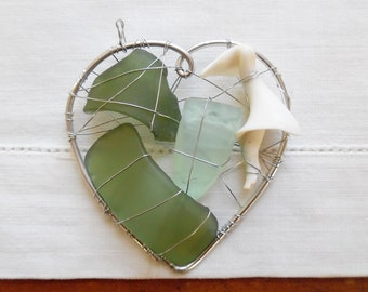 Green and Blue Seaglass and Shell Heart Suncatcher Ornament