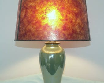 Ships Now  Dark Amber NYM Arts Mica Lamp Shade for Your Vintage Antique Lamp Base