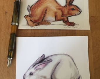 2 Rabbit Postcards