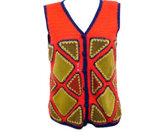 Vintage Leather Patchwork Vest // Hippie 70s 60s Suede Leather Knitted Red Vest// Size S// 142