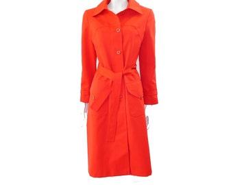 Vintage 60s Red OrangeTrench Coat //Mod Vintage Belted Trench Coat// Size 9-10// 151