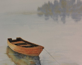 Painting of a Row Boat on a Lake-Fine Art Print