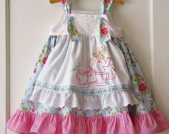Girls CUSTOM Tea Party Dress Blue or Pinks Vintage Roses Hand Embroidered Apron Toddler Girls