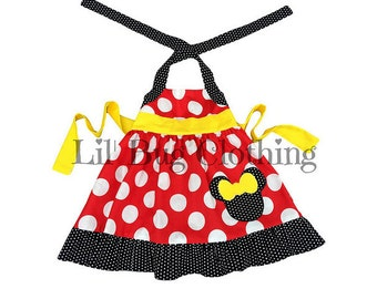 Minnie Mouse Girl Dress, Minnie Mouse Red Yellow Polka Dot Dress, Minnie Mouse Girl Clothes, Minnie Mouse Birthday Party