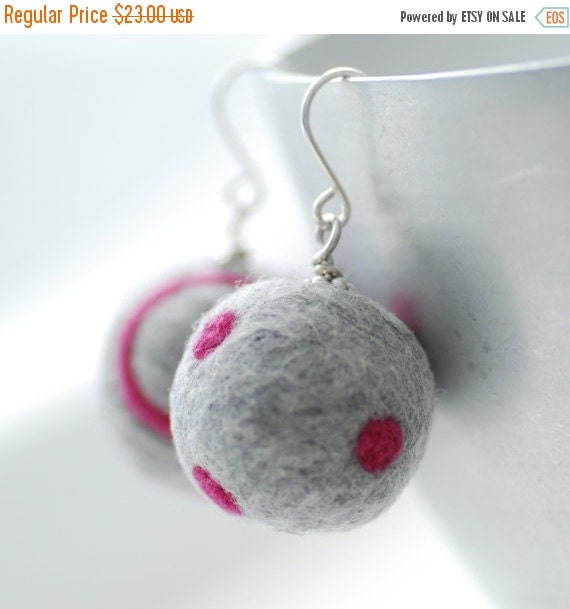 Hot Pink and Grey Felted Wool Earrings, Felted Bead Earrings, Dots and Swirls, Funky Geometric Merino Wool on Sterling Silver - Funky Dots