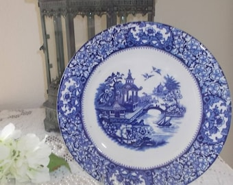 Flow Blue Blue white transfer ware English Blue Willow plate