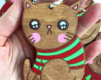 Cat Ornament - Stocking Stuffer, Christmas Decoration, Funny Christmas Ornament, Wooden Ornament, Hand painted, Cute Christmas Ornament