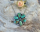Reserved for Stephanie -FINAL Rustic Dog Royston Turquoise Cluster Flower Cabochon Sterling Silver Pendant Necklace, artisan, handmade
